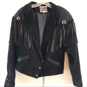 Black Fringe Leather Coat Vtg 80s Western Cowboy